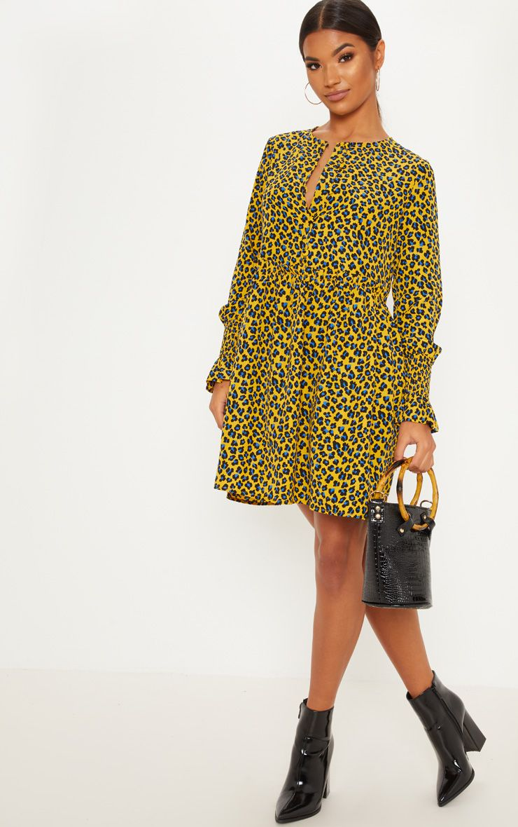 b0d6c267d33 Mustard Leopard Print Covered Button Shirred Detail Smock Dress in ...