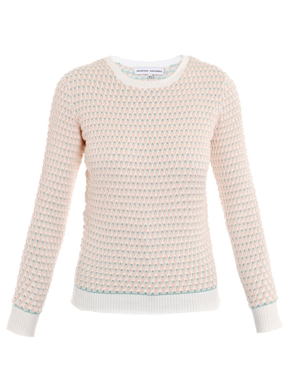 Johnathan Saunders Taupe Oval Cotton Sweater. | Kate's Sweaters ...