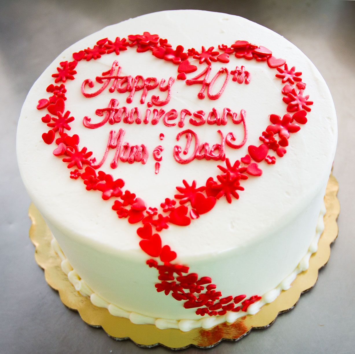 A Floral Heart Anniversary Cake Cake 001 With Images