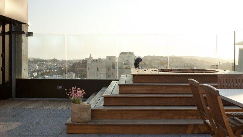 Designerlen München modern roof deck in york city with tub ipe decking and