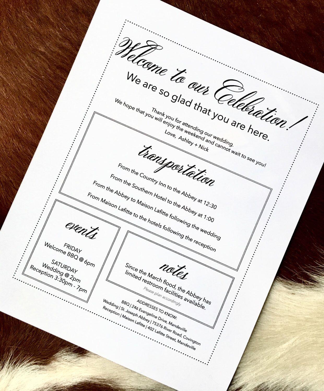 Wedding Welcome Letter Wedding Welcome Bag Note Welcome Letter – Wedding Agenda