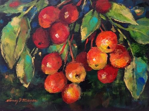 "Daily Paintworks - ""Cherry Jubilee "" - Original Fine Art for Sale - © Nancy F. Morgan"