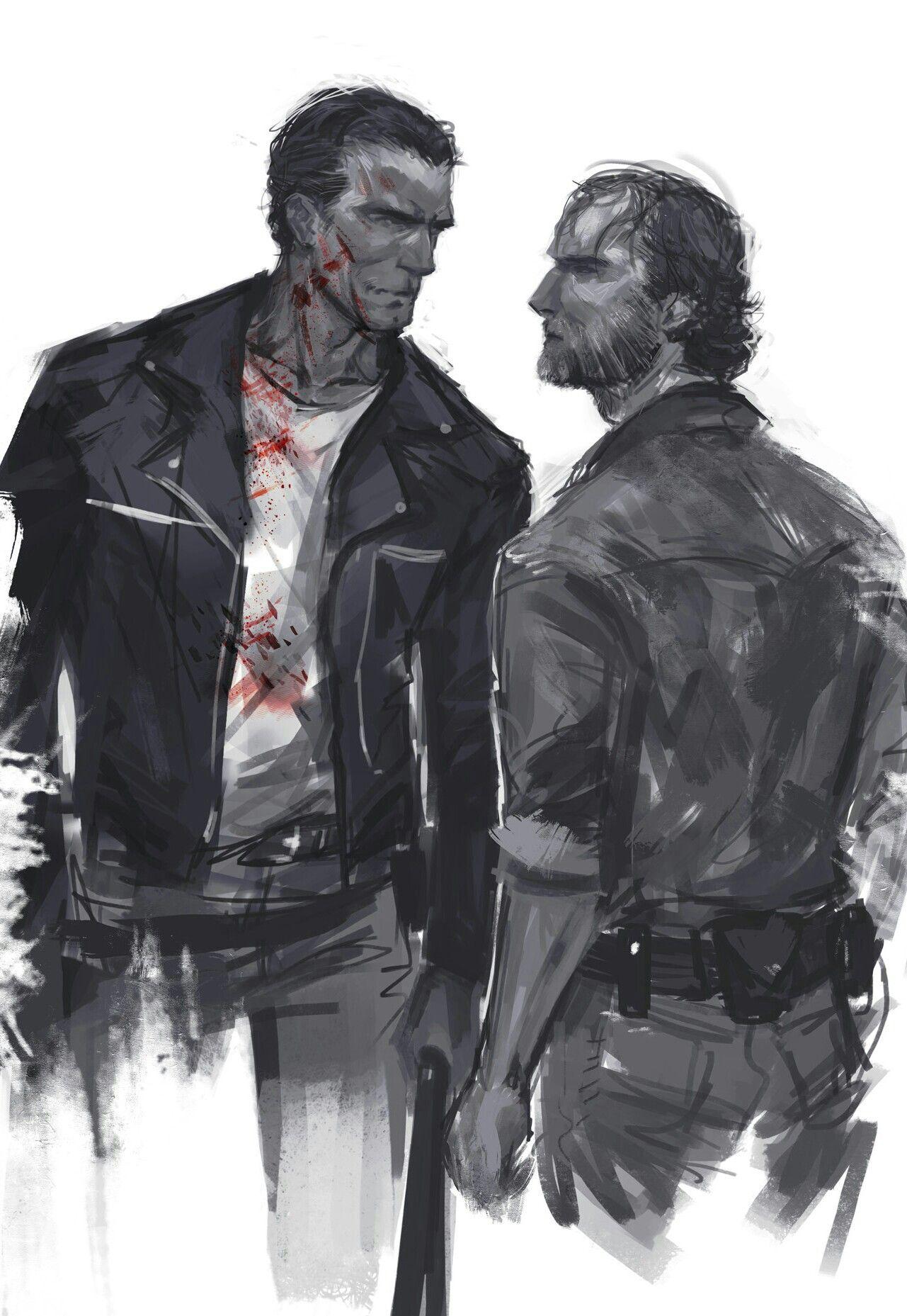 Negan And Rick Grimes Walking Dead Art Walking Dead Drawings The Walking Dead