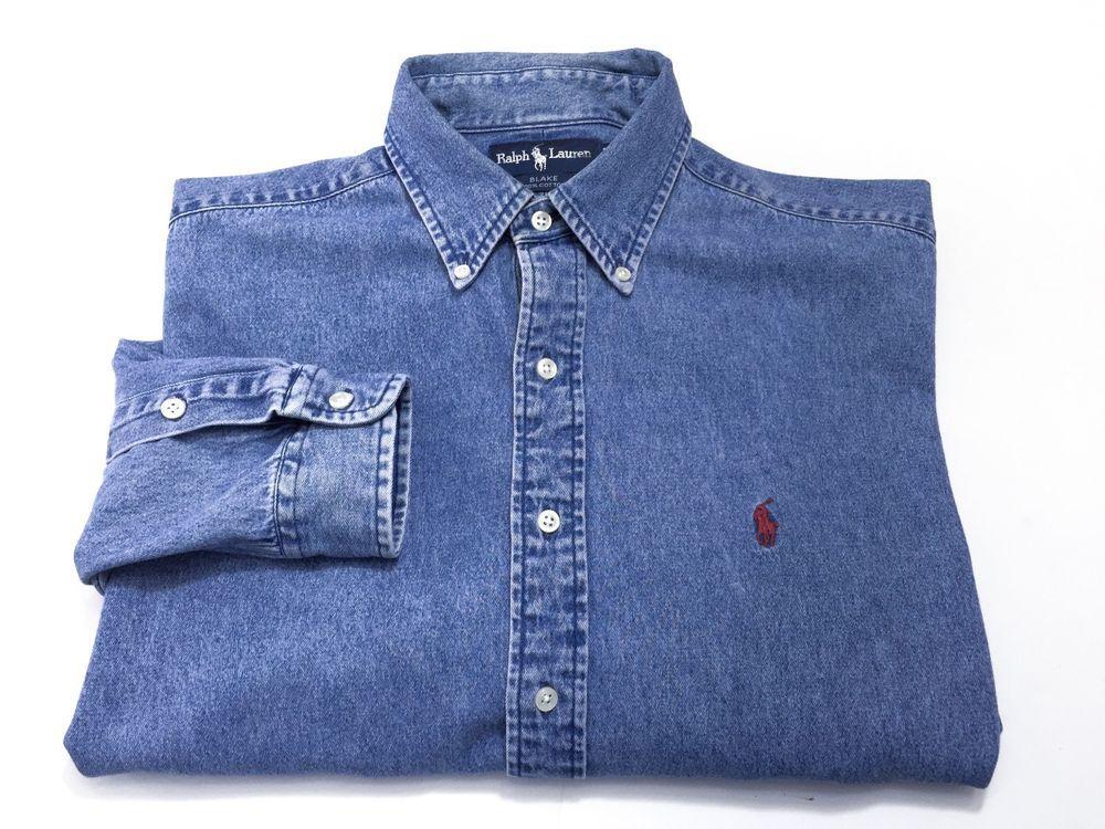 Polo Ralph Lauren Blake Denim Long Sleeve Button Down Shirt Men's Large Blue #POLORALPHLAUREN #ButtonFront