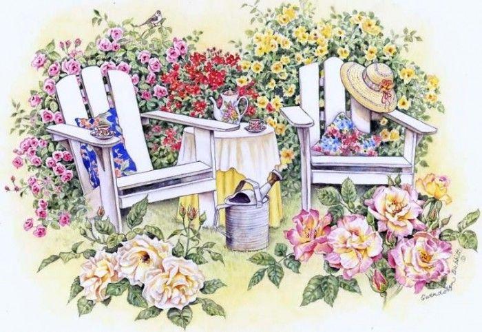 Цветы в саду картинки рисунок