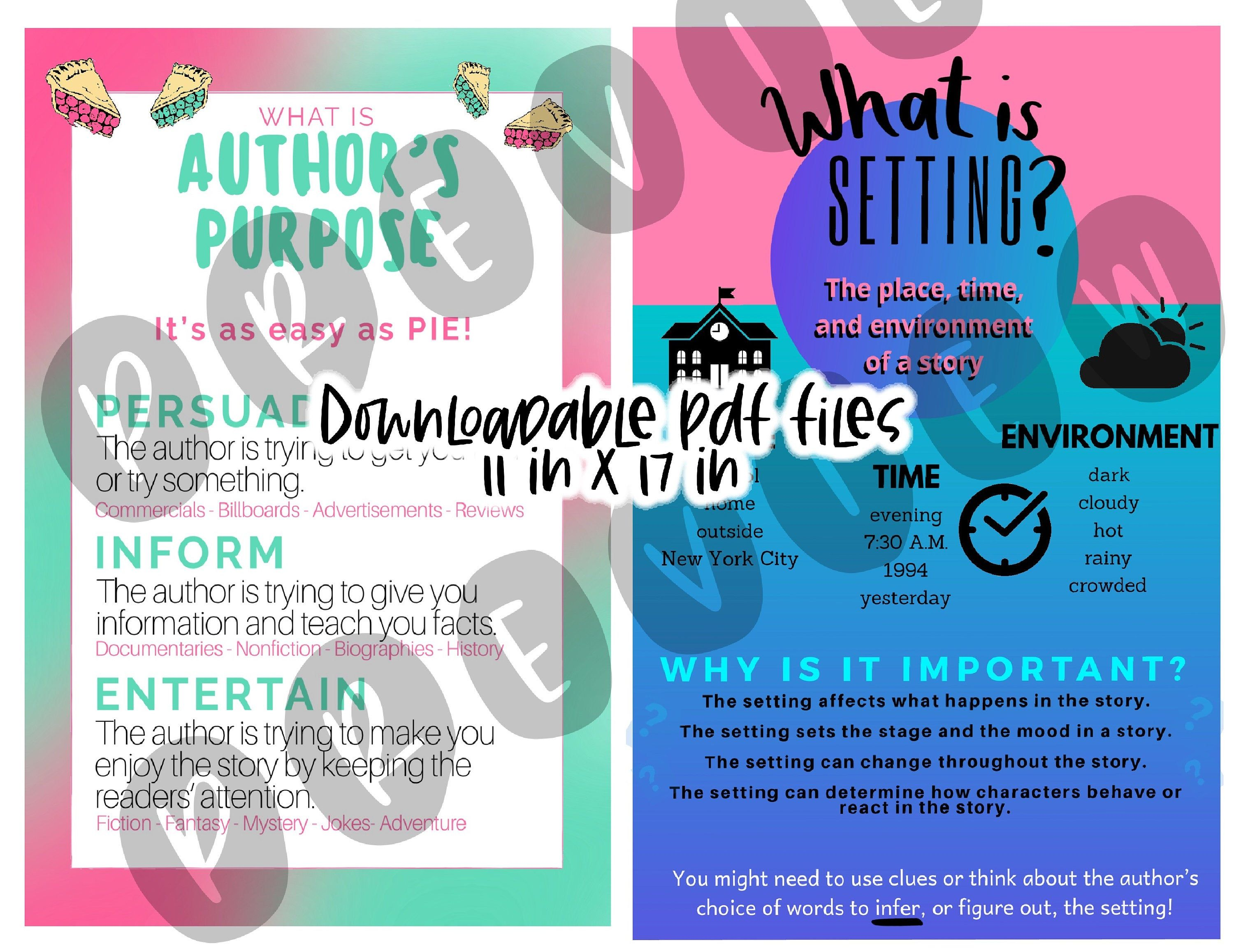 Author's Purpose and Setting Posters Bundle Cool Colors