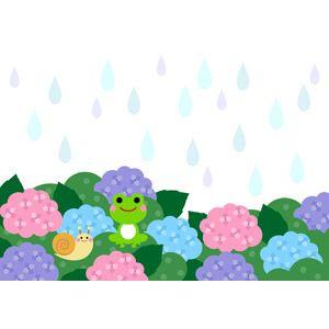 フリーイラスト ベクター画像 Ai 背景 梅雨 6月 雨 植物 花 紫陽花 アジサイ 蛙 カエル カタツムリ 紫陽花 イラスト あじさい イラスト アジサイ イラスト
