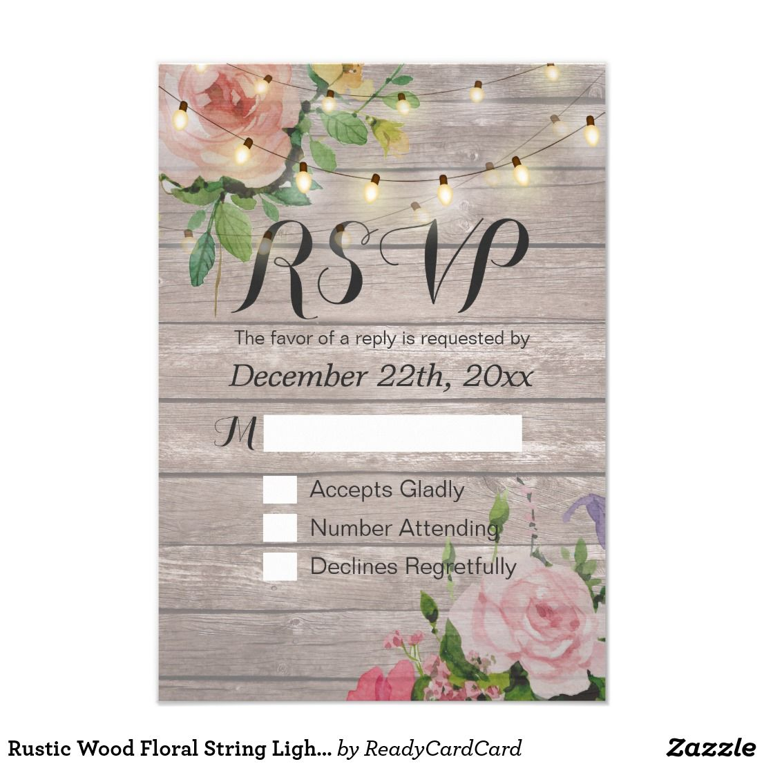 Rustic Wood Floral String Light Wedding Rsvp Reply Card Light