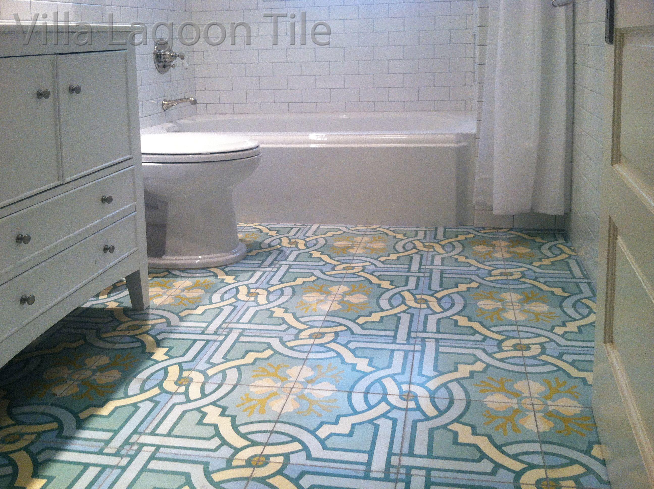 Villa lagoon tiles original venetian azul cement tile brings a villa lagoon tiles original venetian azul cement tile brings a white bathroom dailygadgetfo Choice Image