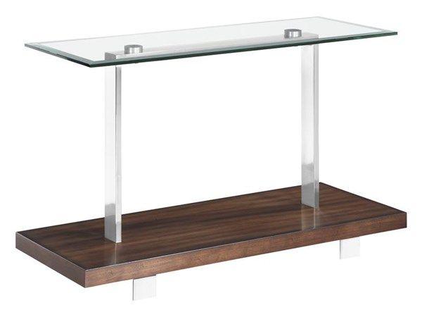 Modern Loft Nutmeg Wood Metal Glass Rectangular Sofa Table