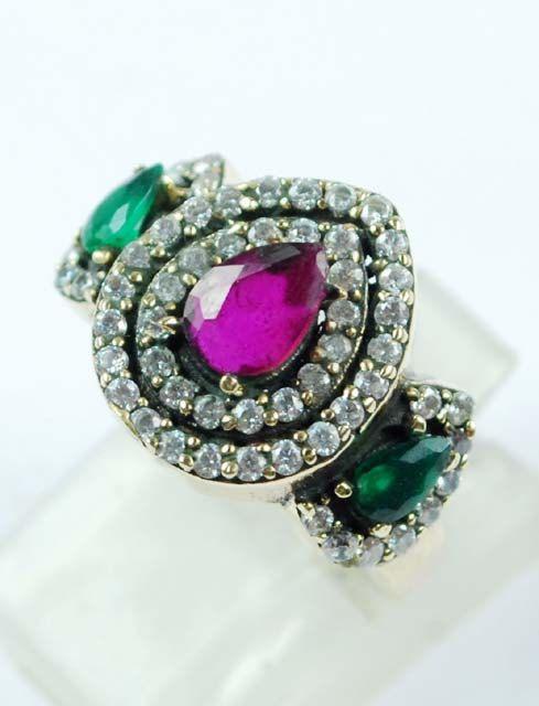 Rare Pear Design Emerald/Ruby Gemstone Ring Solid by ernestosaks