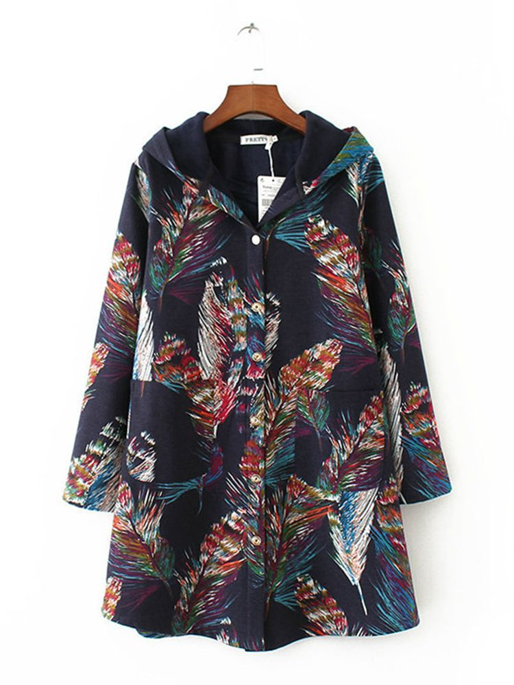 5ac7c90066f Vintage Printed Long Sleeve Pocket Hooded Coat for Women - Newchic Plus  Size Outerwear