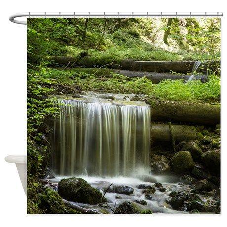Green Forest Waterfall Shower Curtain | Waterfall shower, Shower rod ...
