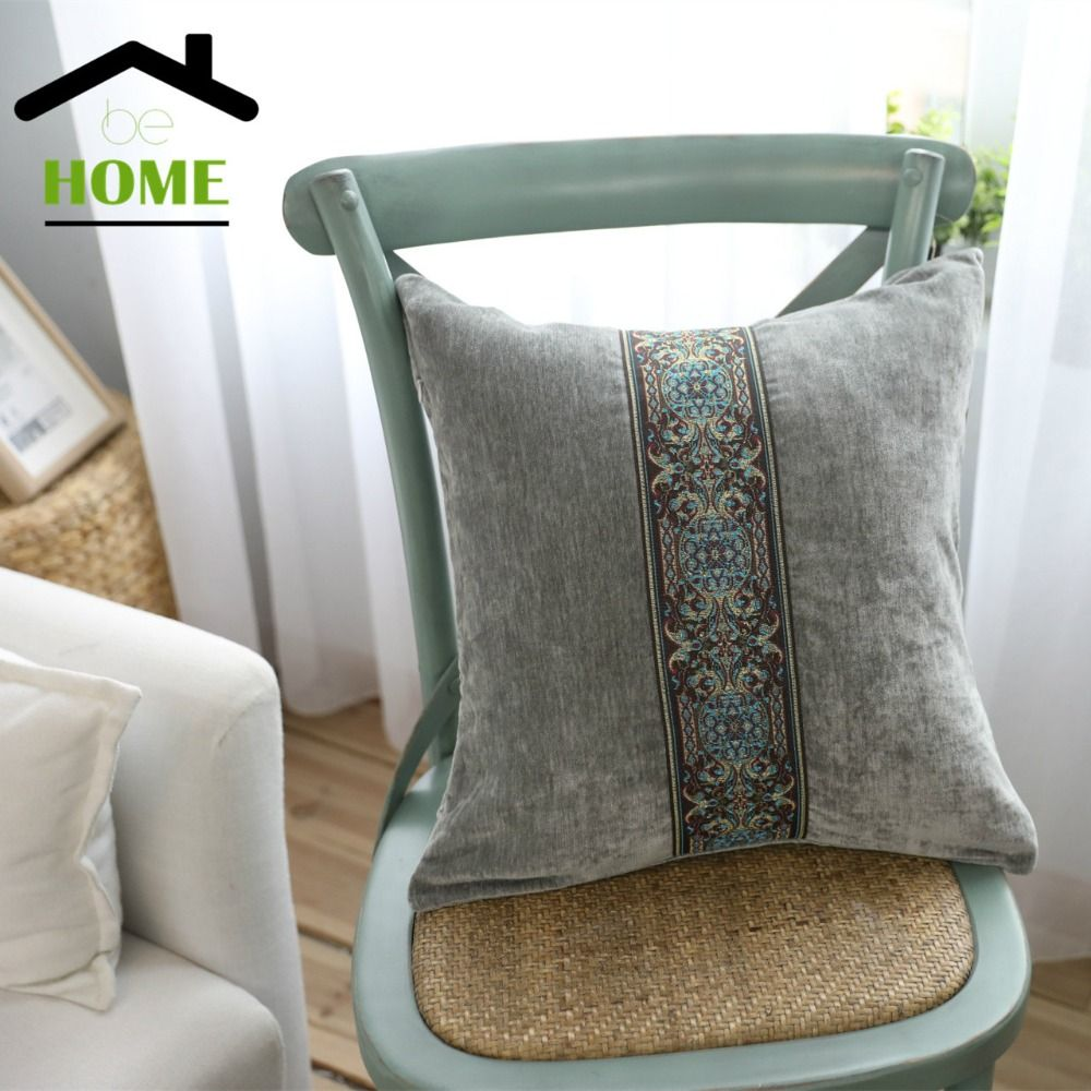 doublesided velvet embroidered gray home pillow cushion cover