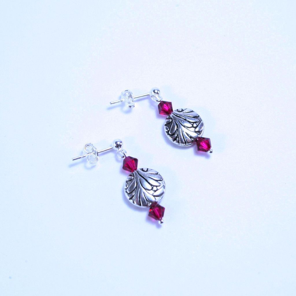 """Magenta Magic"" Silver Flower & Crystal Post Earring"