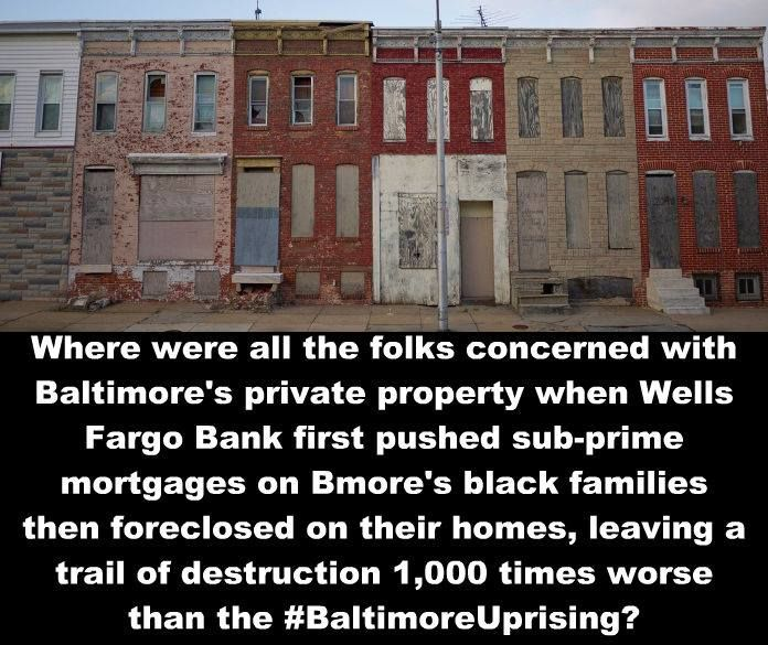 Wells Fargo Bank First Pushed Sub Prime Mortgages On Thousands Of Black Families In Baltimore Referred To As Mud P Sub Prime Wells Fargo Meanwhile In America