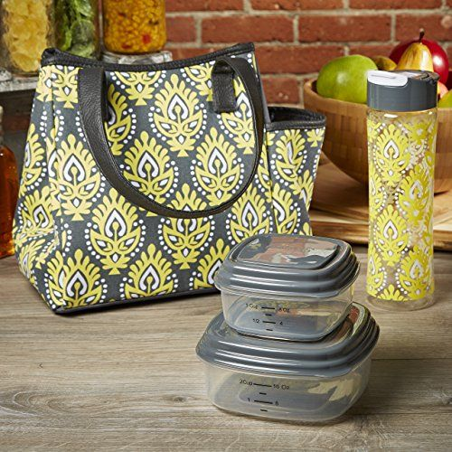 Fit & Fresh Ladies' Westerly Insulated Lunch Bag Set with Reusable Containers and 20 oz Matching Water Bottle, Zipper Closure, Pocket (Yellow Greek Medallion)