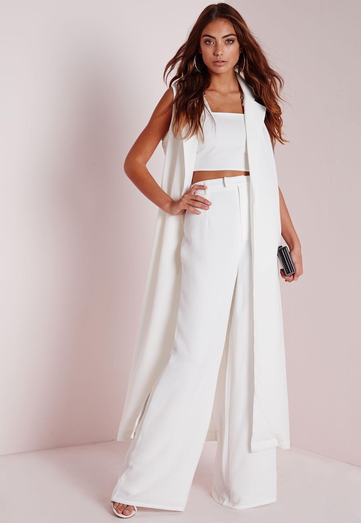 3207de70ff8d Missguided - Premium Crepe Wide Leg Pants White. | Fashion Forward ...