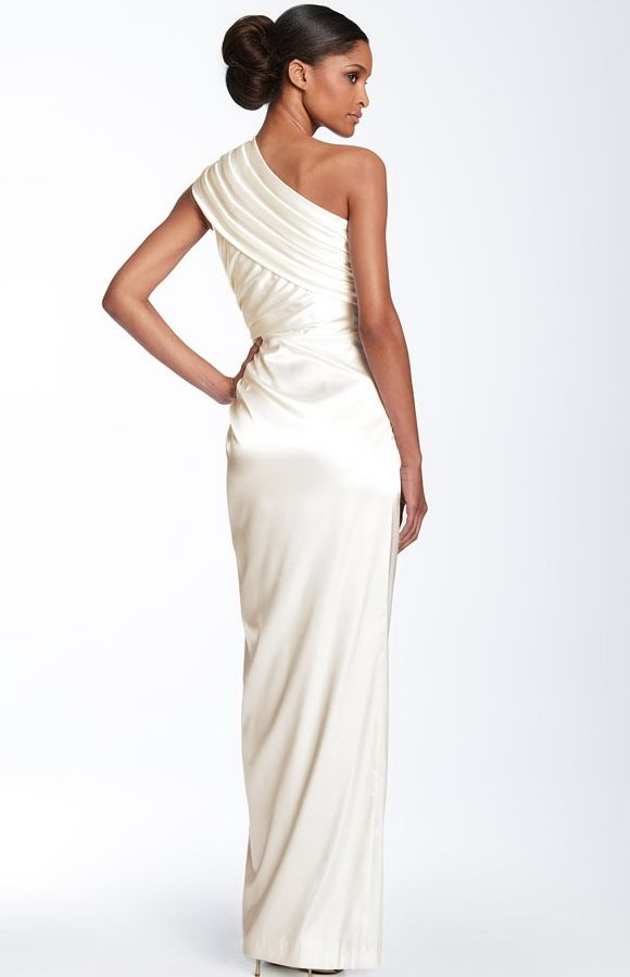 white formal evening gowns | ... Papell One Shoulder White Evening ...