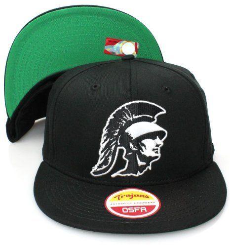 529f35036 USC Trojans Flat Bill Logo Snapback Hat Cap All Black USC Trojans.  16.99