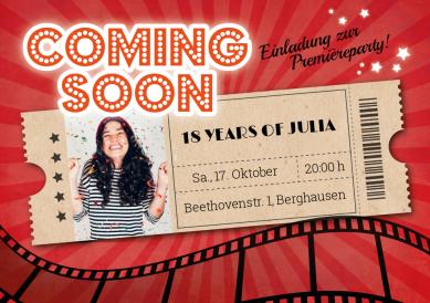 Witzige Einladungskarte Zum 18. Geburtstag In Filmposter Look Mit Kinokarte  Und Foto   Auch
