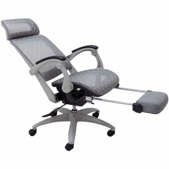 Elastic All Mesh Reclining Office Chair W Adjustable Sliding Seat Depth Footrest Brownacce Office Chair Reclining Office Chair Outdoor Lounge Chair Cushions