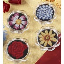 Bright Flowers Coasters Counted Cross Stitch Kit - Herrschners
