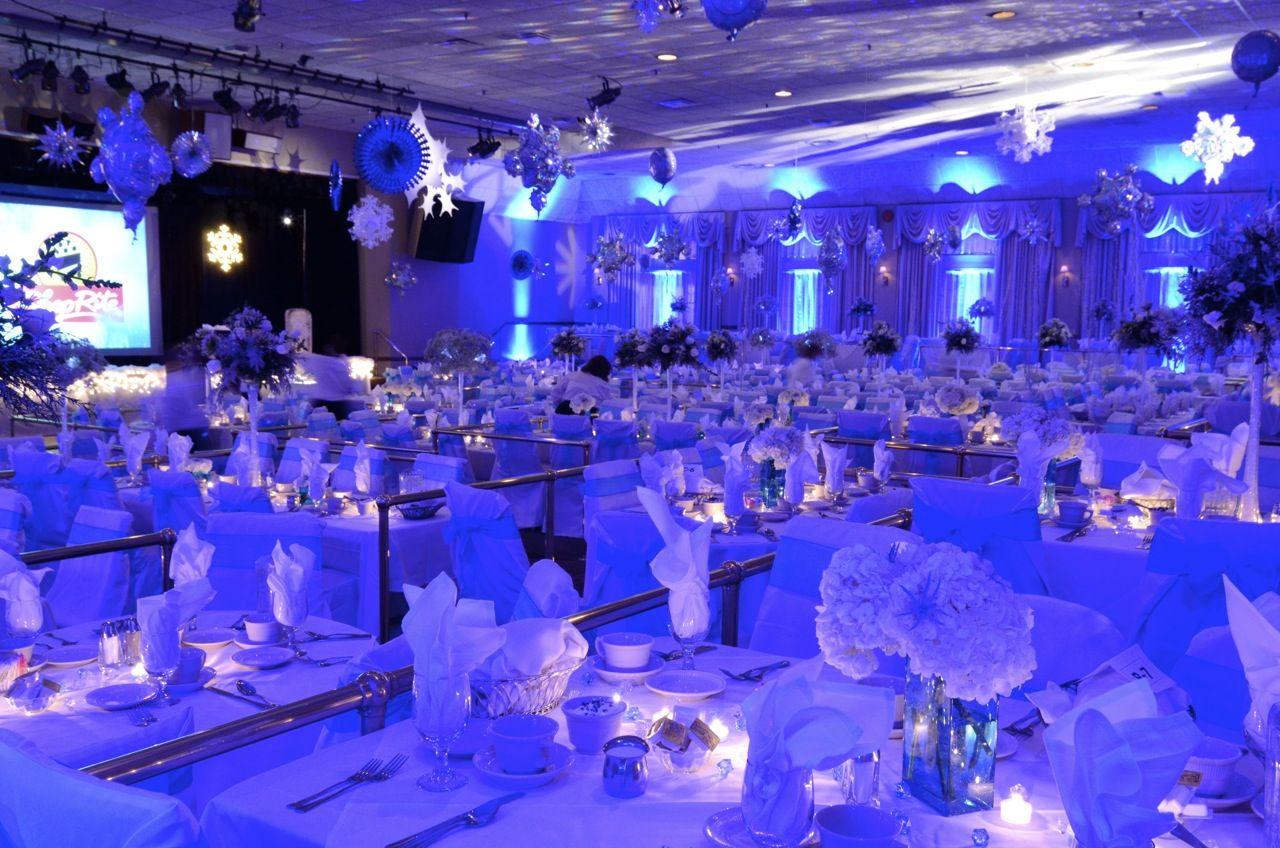 bold blue lighting transformed this huge ballroom into a. Black Bedroom Furniture Sets. Home Design Ideas