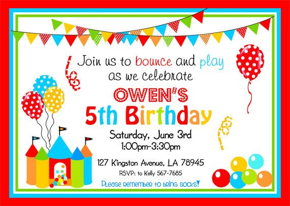 Bounce House Party Invitations Bouncy Castle By Thepaperkingdom 1900