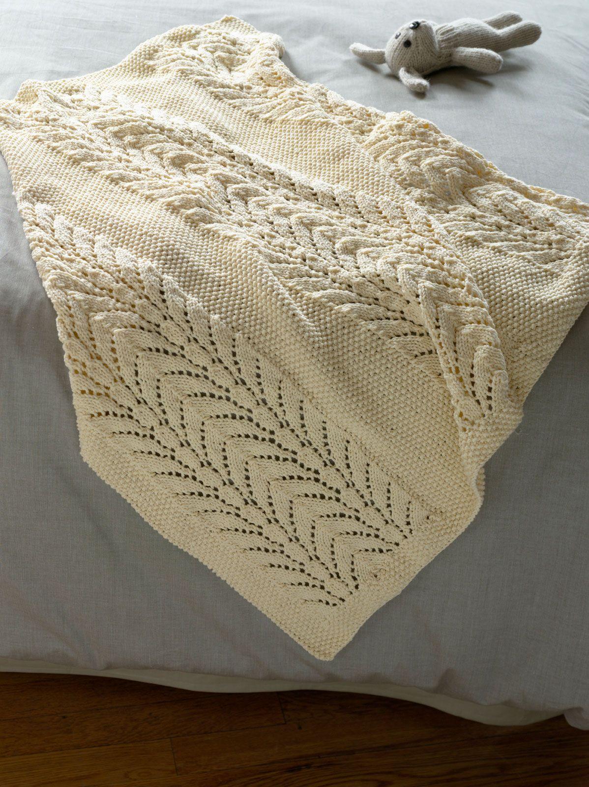 Lace knit baby blanket - Free pattern via Lion Brand Yarn | Knitting ...