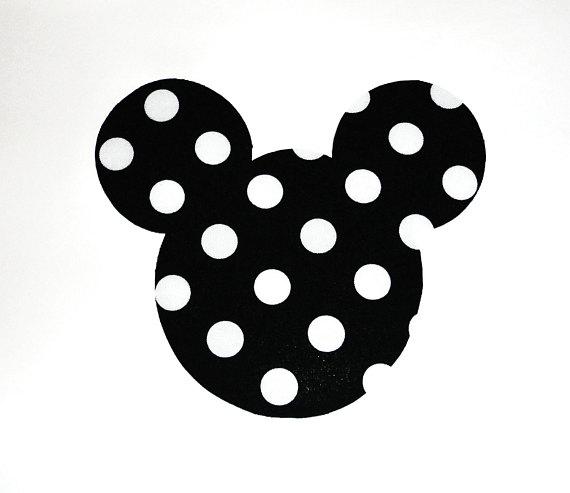 Polka Da Sala.Iron On Applique Black And White Polka Dots Minnie Mickey