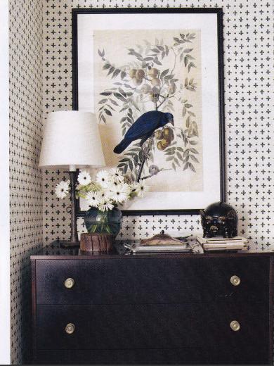 Katie leede papyrus | veranda magazine, feb. 2012. Love that wallpaper