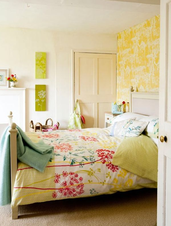 Superior Yelow Bedroom Ideas With Floral Wallpaper Pink Flower Sepals Wall Murals  And White Wallpaper With Floral