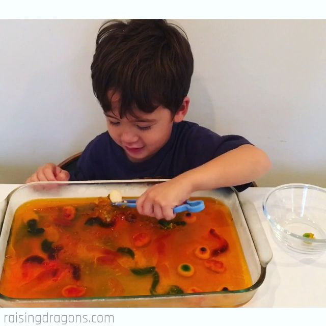 Halloween Gelatin Excavation Activity * ages 3+ ⋆ Raising Dragons