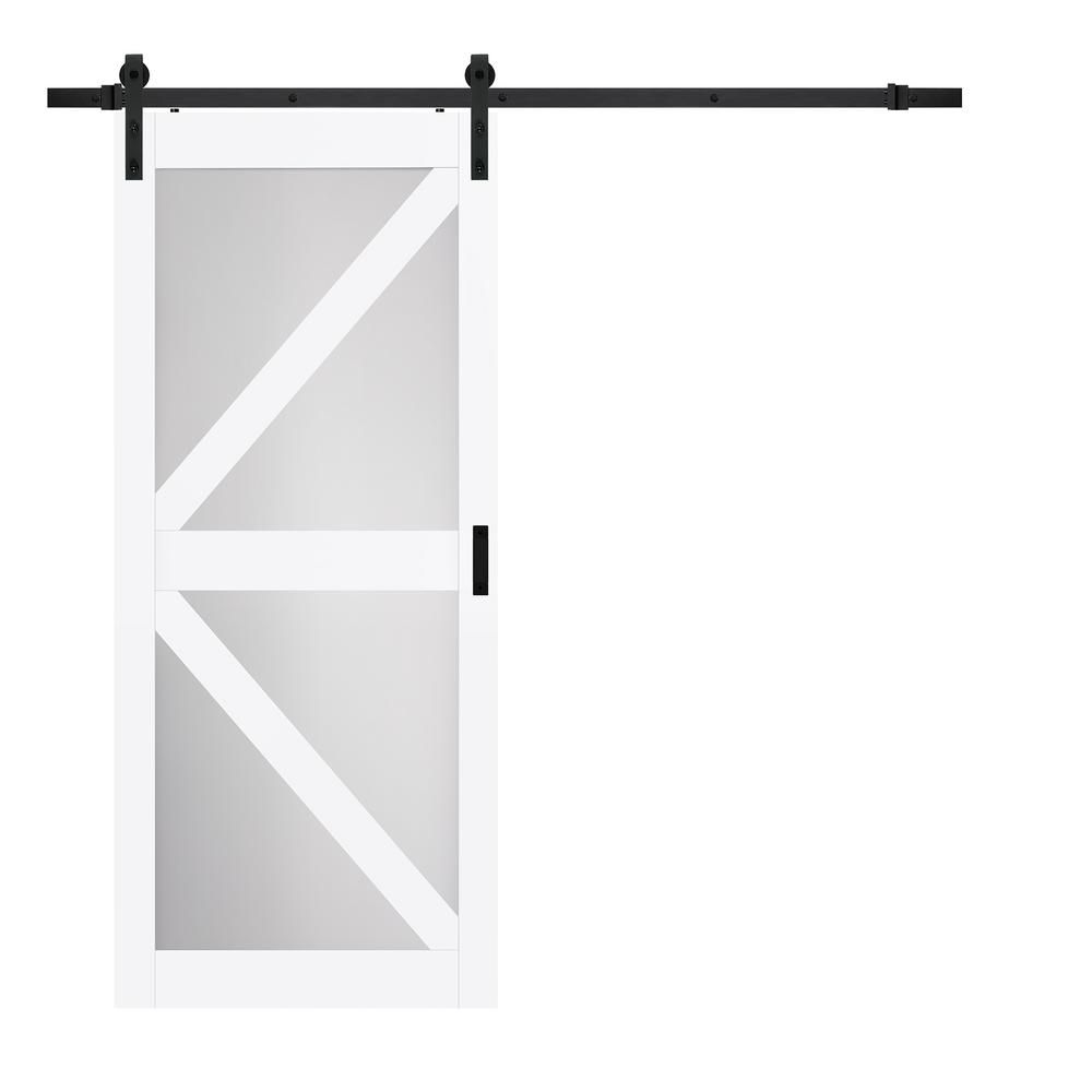 Truporte 36 In X 84 In Bright White Mdf Frosted Glass K Design Sliding Barn Door With Rustic Hardware Kit Bd064w01bw1tgg36084 Wood Doors Interior Glass Barn Doors Modern Sliding Door Hardware