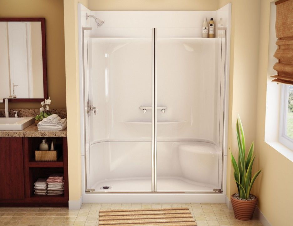 one piece shower units for modern bath design outstanding floral decorating idea one piece shower units in white color equipped with glass door design
