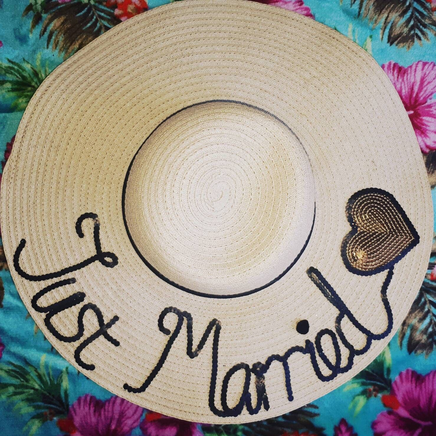 dee4f219e Honeymoon hat, floppy hat customised hat, custom straw hat ...