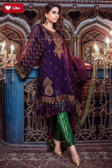4838b95c7f Maria B Purple & Green BD06 Mbroidered Eid 2 Collection 2017 - Original  Online Shopping Store #mariab #mariabmbroidered #mariab2017  #mariabchiffon2017 ...