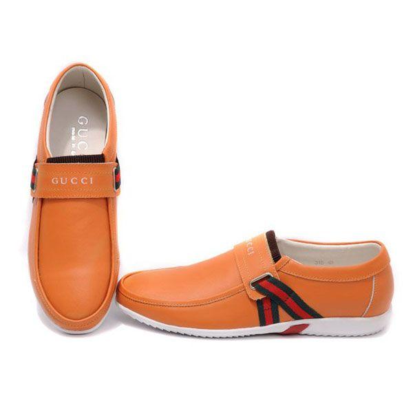 Gucci Men's Sneakers In Orange  http://www.luxurydressesbox.com/gucci-mens-sneakers-in-orange-p-10331.html