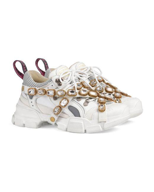 Gucci White Flashtrek Embellished