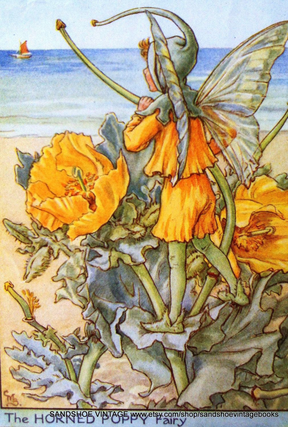 1930s The Horned Poppy Fairy Cicely Mary Barker Print Ideal For