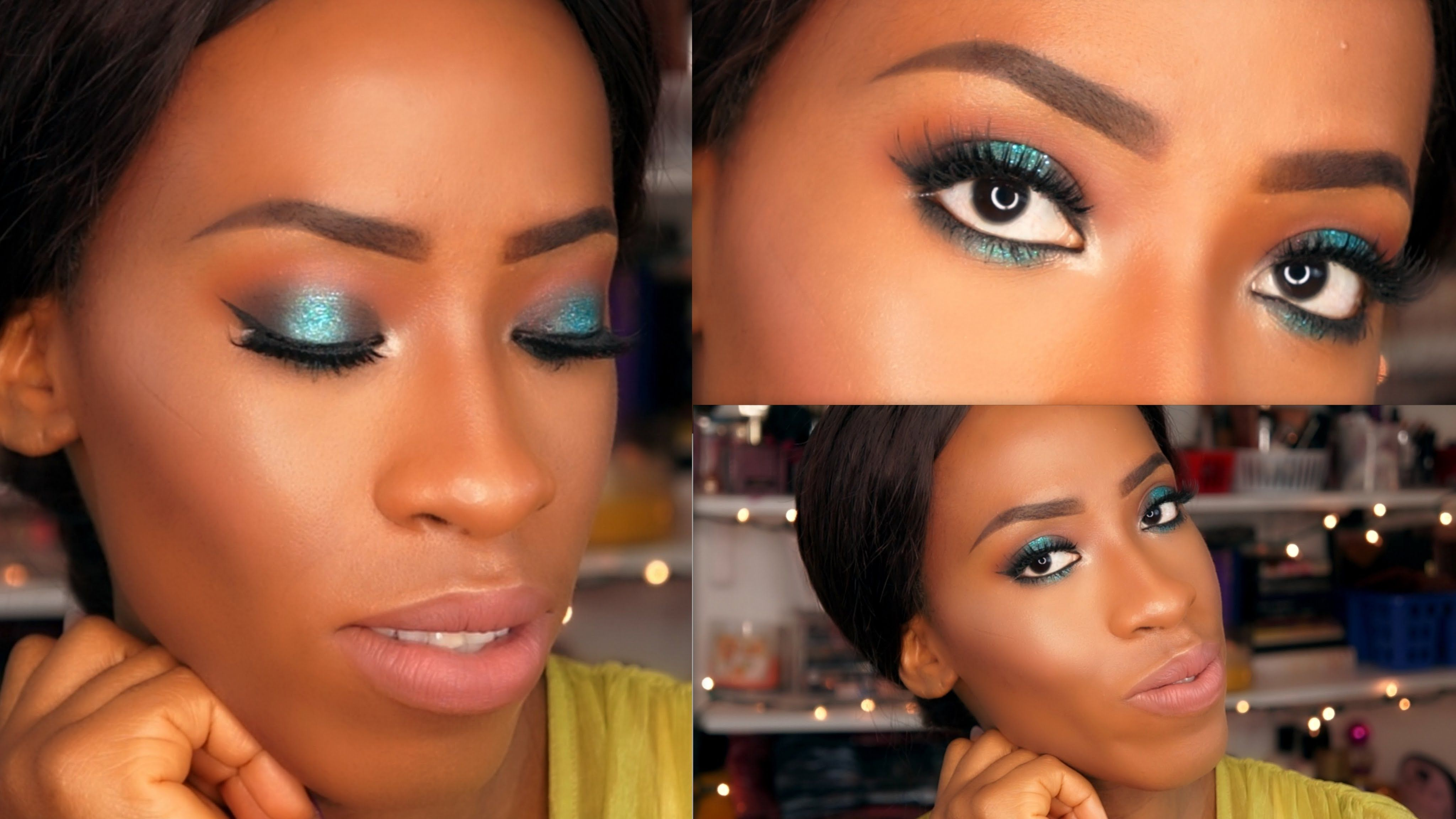 holiday makeup tutorial for black women - mermaid eyes & nude lips