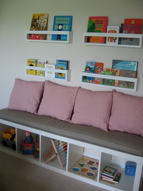ikea kallax custom cushion playroom nursery organization bench seat playroom cushion bench