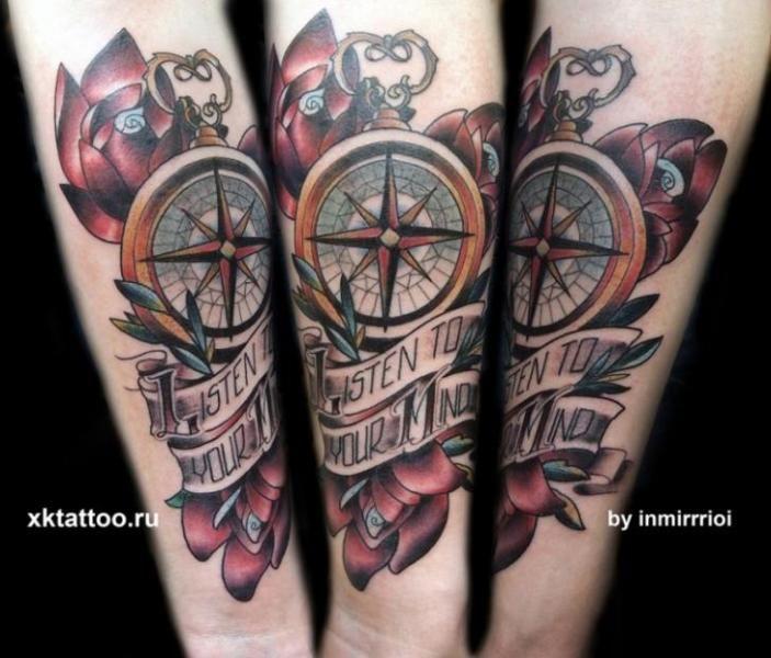 Tattoo By Xk Tattoo New School Tattoo Tattoos Compass Tattoo