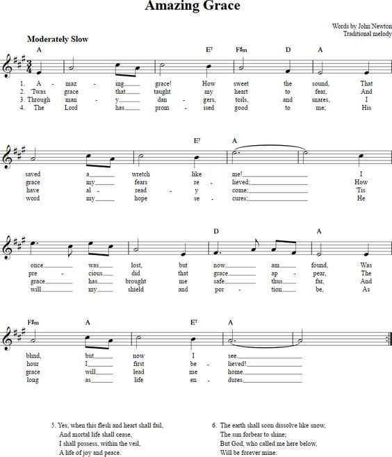 Amazing Grace Free Piano Sheet Music With Lyrics: Amazing Grace Sheet Music For Clarinet, Trumpet, Etc