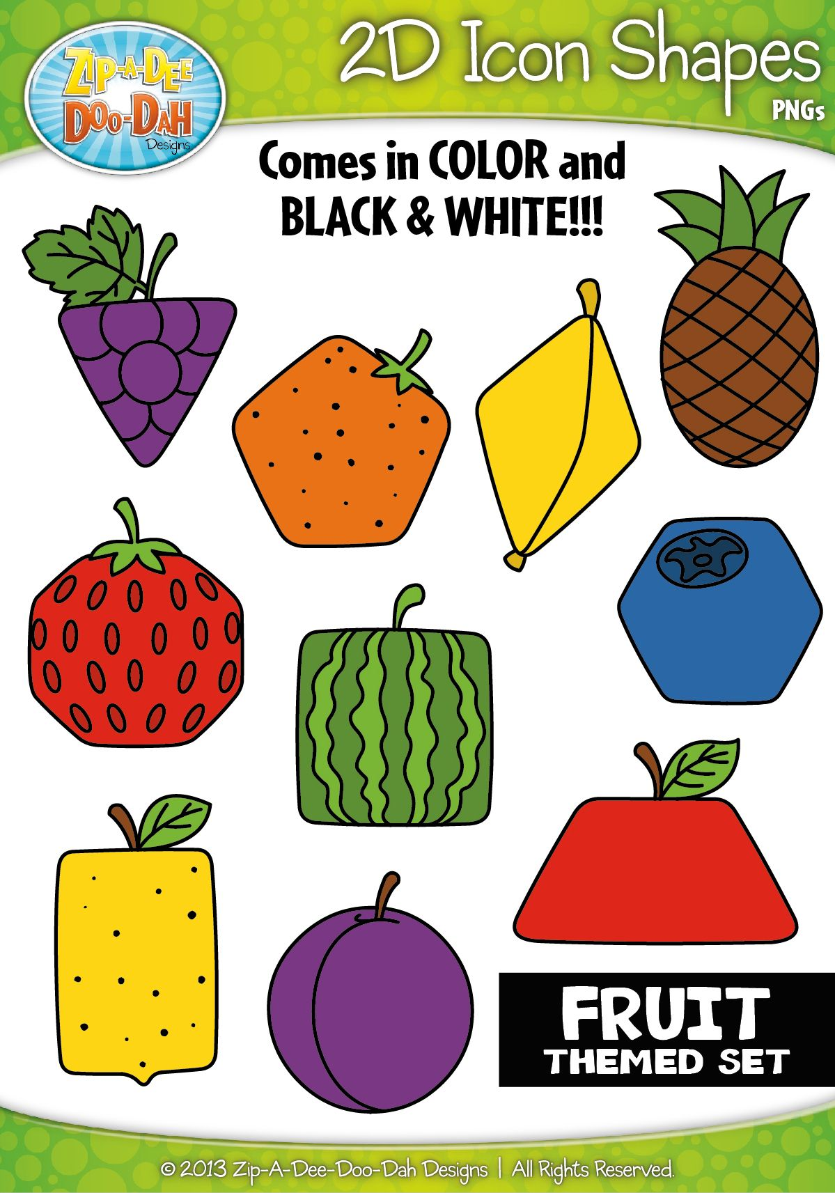 Fruits 2d Icon Shapes Clipart Zip A Dee Doo Dah Designs