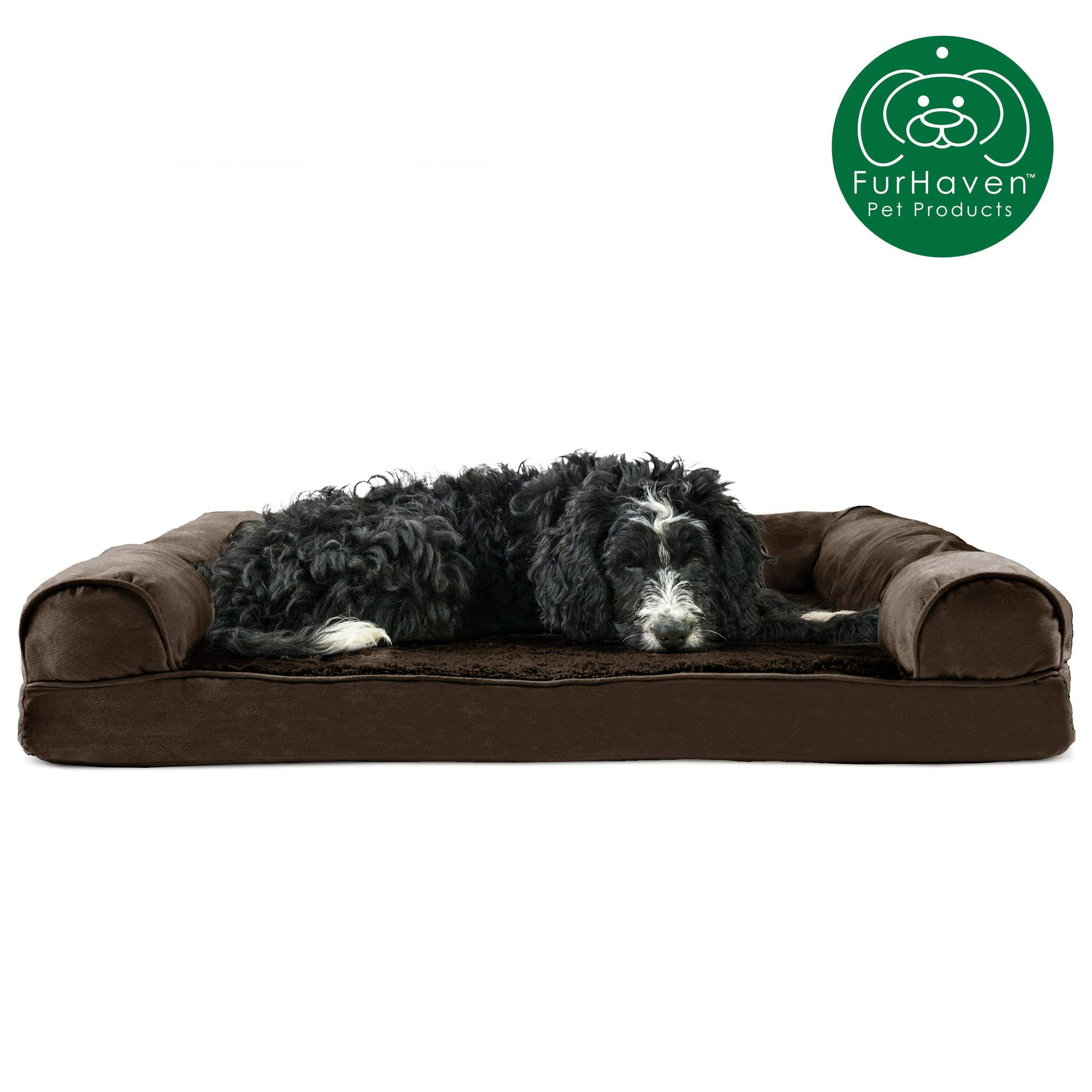 Furhaven Pet Dog Bed Orthopedic Ultra Plush Faux Fur Andamp Suede Traditional Sofa Style Living Room Couch Pet Bed W Rem Dog Sofa Bed Dog Bed Large Dog Bed
