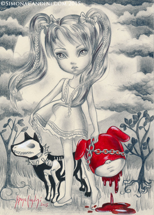 salome limited edition only 10 print signed numbered simona candini collector surreal lowbrow big eyes art girl blood gothic creepy cute