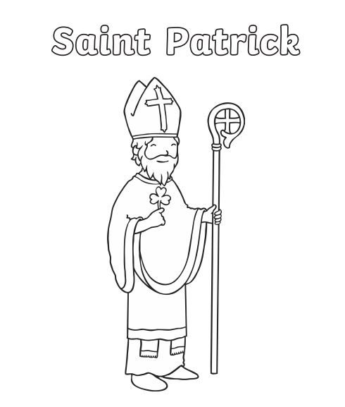 Saint Patrick Colouring Page For Eyfs Junior Infants Senior