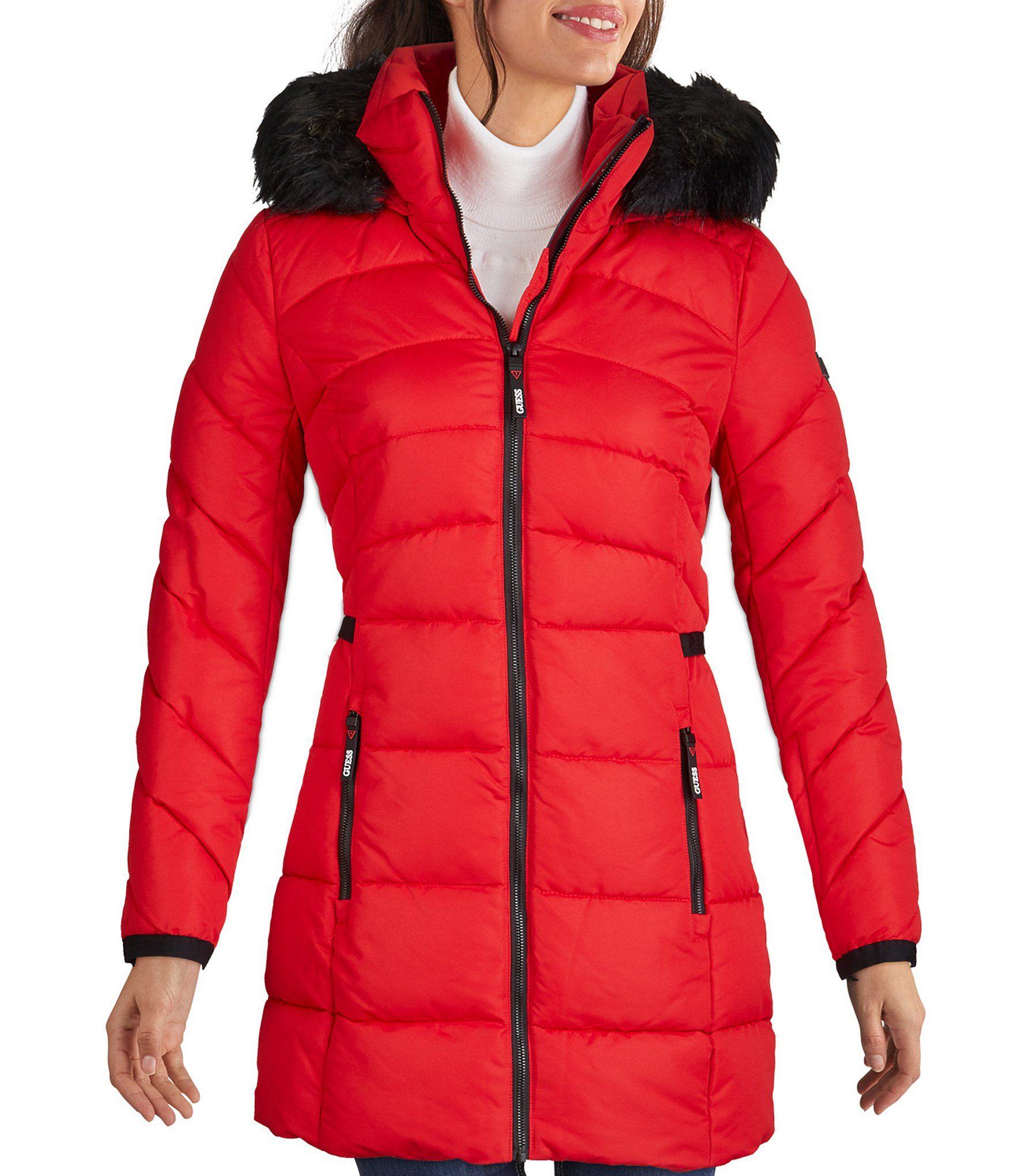 Guess Zip Front Puffer Anorak Down Coat With Removable Faux Fur Trimmed Hood Dillard S Anorak Down Coat Fur Trim [ 2040 x 1760 Pixel ]